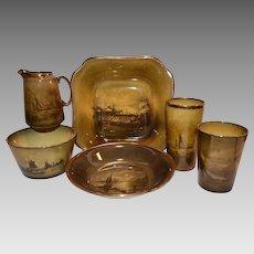 6 English Pieces Bowls, Glasses and Creamer~ Ship Scenes ~ Royal Vista ~ Ridgways England 1880-1900