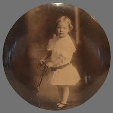 Vintage Celluloid Photographic Medallion Adorable Baby Columbia Medallion Studios Chicago Photographic Button, Plaque 1910's