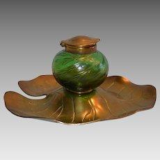 Glass & Brass Inkwell ~ Iridescent Green ~ Bohemian / Czech~ Art Nouveau Lily Pad Design ~ Kralik Glass Co  early 1900's