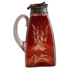 Handled Syrup Pitcher ~ Zippered Edges with Ruby Red Stained Designed Sides late 1800's