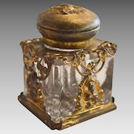 Small Glass Inkwell with gilt wash metal Decorations, Rim & Hinge late 1800's – Early 1900's