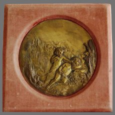 Antique Bronze Relief Plaque of Cherubs / Putti in Velvet Picture Frame ~ 559 Summer ~ Copyrighted late 1800's