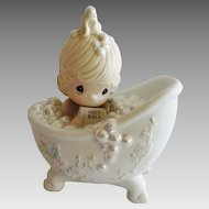 Precious Moments He Cleansed My Soul figurine 1985 Bathtub Girl and Bible ~ Enesco 1987