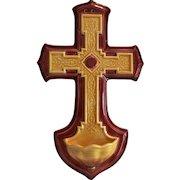 Beautiful French Cross ~ Holy Water Font ~ Catholic ~ UTZCHNEIDER & CO (Sarreguemines, France) - ca 1910s - 1930s
