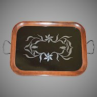 Wooden Serving Tray Sterling Silver Overlay Flowers Under Glass ~ Royal ~ Rochester  Early 1900's