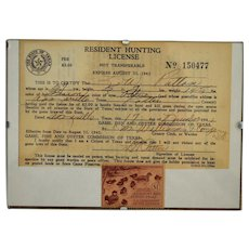 1941 Texas Hunting License / Unused Migratory Bird Hunting Stamp ~ Ruddy Ducks by Edwin Kalmbach