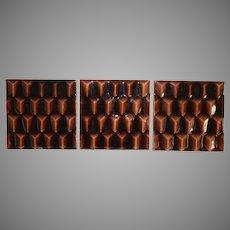 3 Majolica Tiles ~ Geometric Dimensional Design ~ International Tile Company 1883-1891
