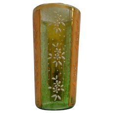 Green Glass Tumbler ~ Moser Style ~ Hand Painted ~ Gold and Flower Panels ~ 1800's