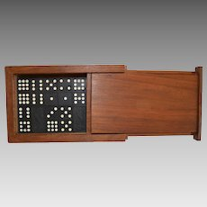 56 - Wooden Dragon Dominoes ~ Double Nine ~ in Walnut Wood Box  Mid 1900's
