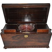 Tea Caddy ~ English Regency ~ Rosewood with Three Compartments, Bowl & Key ~ early 1800's