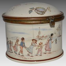 French Trinket Box With Hinged Lid-Kate Greenaway Figures ~ Utzschneider & Co. Sarreguemines France 1900-1930