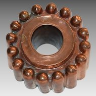 Antique Copper Mold ~Open Center  ~ Tin Lined ~ Bullet shaped designs ~  late 1800's