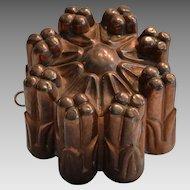 Antique Copper Mold  ~ Tin Lined  ~ Pillar Design ~  late 1800's