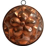 """Large Hammered Copper Mold ~ 9"""" Wide ~Tin Lined ~ ~ late 1800's"""