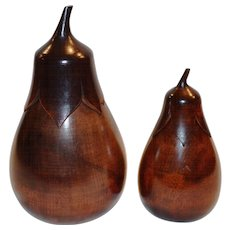 Wooden Tea Caddies ~ Matching Pair ~ Aubergine Shaped 1890