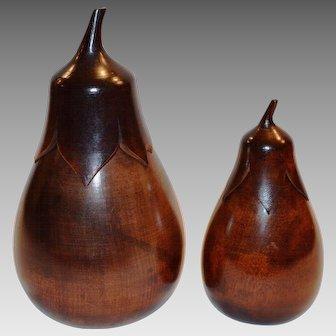 Wooden Tea Caddies ~ Matching Pair ~ Aubergine Shaped 1890