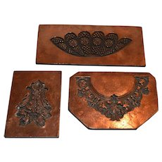 Three Antique Copper Tiles /  Molds ~  Candy / Cake Decorating 1800's