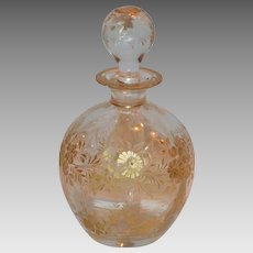 Perfume Bottle ~ Bohemian Crystal Glass ~Engraved Flowers with Gold Gilt ~ Moser Bohemia Czech