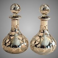 """2 Perfume Bottle ~ Petite 4 ½"""" H with Sterling Silver Overlay Late 1800's to 1900's"""