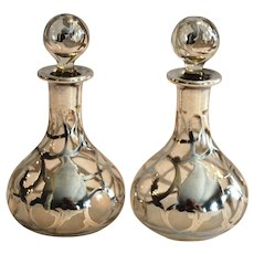 "2 Perfume Bottle ~ Petite 4 ½"" H with Sterling Silver Overlay Late 1800's to 1900's"