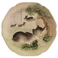 Cute French Bunny Plate ~ 5 Rabbits playing ~ H. Boulengar Choisy Le Roi France 1890-1930