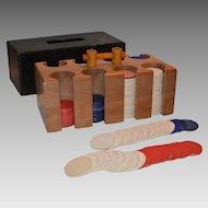 Poker Chips ~ Wooden Carrier ~ Bakelite Handle ~ Thesco company 1940's – 1950