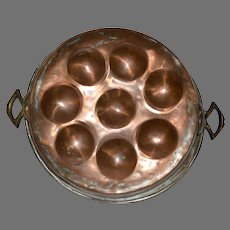 Large Copper Pan with Brass Handles ~ Escargot or Eggs or Aebleskivers ~ Late 1800's ~ Early 1900's