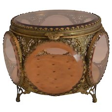 Antique Jewelry Box / Casket ~ Round with lid ~ 6 Sided with Amber Glass  ca late 1800's