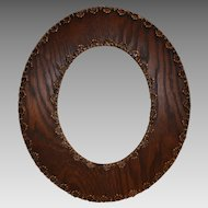 Wood Oak Oval Picture Frame ~ Gesso Decorated early 1900's