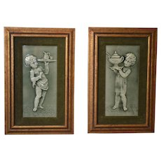 Architectural Majolica Tiles Framed ~ Putti Servants~ Raised Relief with Green Glaze ~ Isaac Broome Designer ~ Trent Tile Co Trenton  NJ 1880's