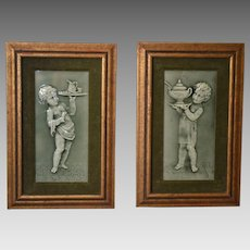 Architectural Majolica Tiles Framed ~ Putti Servants~ Raised Relief with Green Glaze