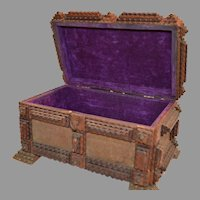 Tramp Art Box ~ with Purple Velvet Lining ~ Hand Carved 1800's to mid 1900's
