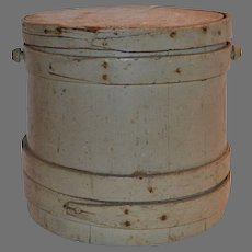 Firkin Sugar Lidded Bucket / Pail Painted Gray  ~ 19th Century