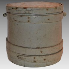 Firkin Sugar Lidded Bucket / Pail Painted Gray Blue ~ 19th Century