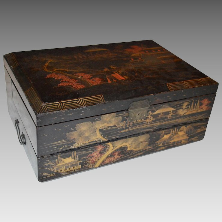 Travel Writing Desk Box Black Lacquer With Gold Makie Anese Scene Ca