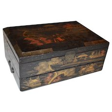 Travel Writing Desk ~ Black Lacquer with Gold Makie ~ Japanese Scene ~ ca early 1900's