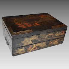 Travel Writing Desk / Box ~ Black Lacquer with Gold Makie ~ Japanese Scene ~ ca early 1900's