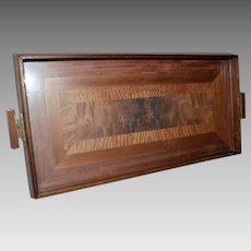 Wooden Inlayed Tray with Glass Top and Handles ~  Royal Rochester 1950's