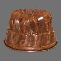 MISC879 - Large Hammered Copper Mold ~ Tin Lined ~ ~ late 1800's