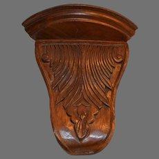 Walnut Wood Corner Shelf ~ Hand Carved Acanthus Design