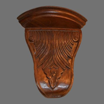 Walnut Wood Corner Shelf ~ Hand Carved Acanthus Design