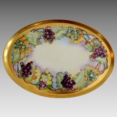 Platter / Tray 18 X 13  ~ Limoges Porcelain~ Hand Painted with Grapes ~ Haviland Limoges Franch ~1894-1931