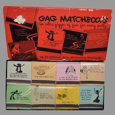 24 Gag Matchbooks in Original Box ~ All Different,Spicy, Mirthmaking 1950's