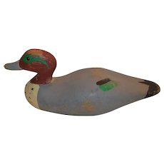 Wooden Duck Decoy ~HAND CARVED ~ Green-Winged Teal Drake ~ Glass Eyes - Early 1910's to 1920's.
