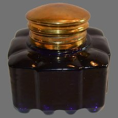 Inkwell ~ Cobalt Blue Glass with Brass Top