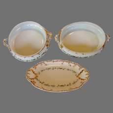 3 piece Serving set ~ Bowls and Relish Dish ~ Haviland Limoges ~ Beautifully Hand Decorated~ with Pink and Blue Flowers ~ Gerard, Dufraisseix and Morel / CH Field Haviland (GDM/CFH) ~ 1891-1900