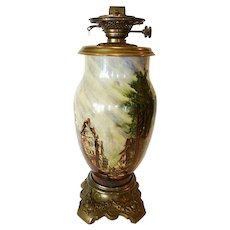 "French Glass Oil Lamp 19"" Tall ~Rare Baccarat signed ~ Hand Painted with French Village Scene ~ artist Baccarat ~ France 1850's ~ 1880's"