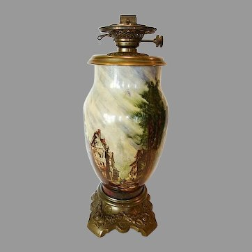 """French Glass Oil Lamp 19"""" Tall ~Rare Baccarat signed ~ Hand Painted with French Village Scene ~ artist Baccarat ~ France 1850's ~ 1880's"""