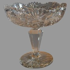 American Brilliant Compote ~Hobstar, Fan & Buzz Design  with Sawtooth Rim 1876-1917