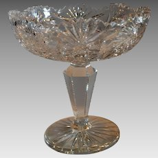 American Brilliant Compote ~Hobstar, Fan & Buzz Design  with Sawtooth Rim 1876-1917